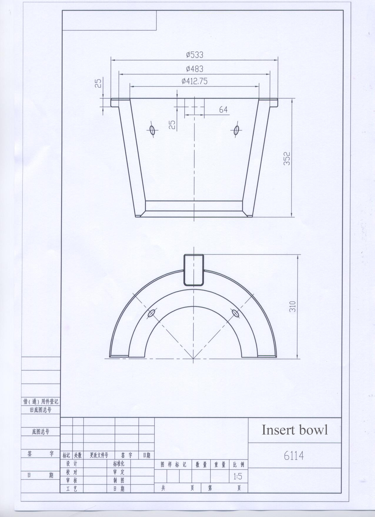 6114 insert bowl drawing