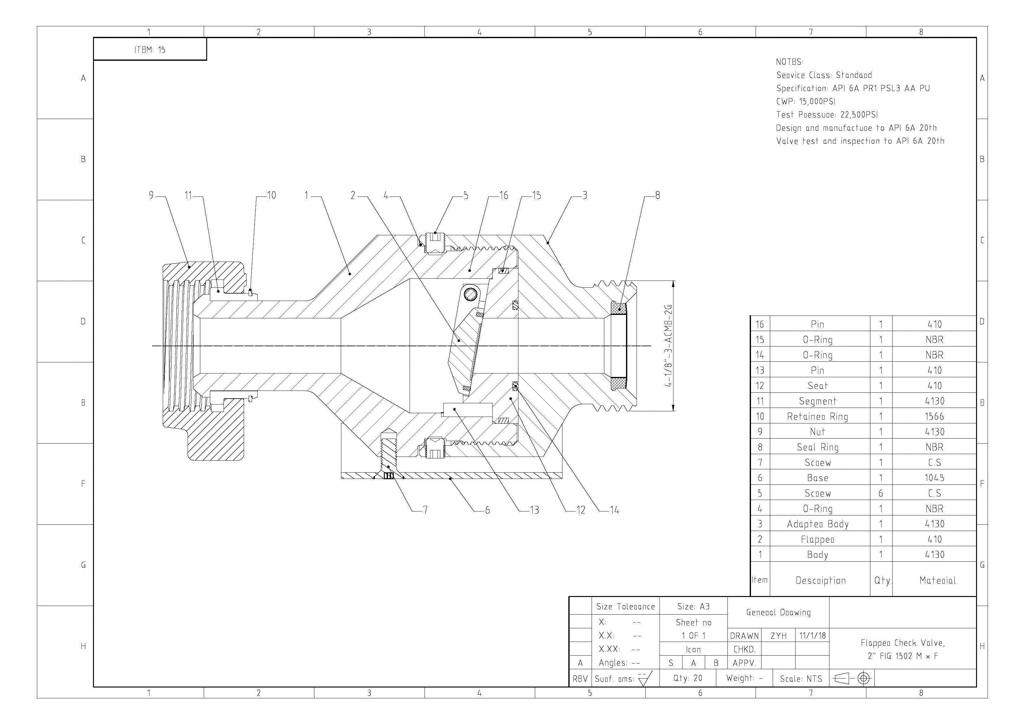 Flapper Check Valve Drawing