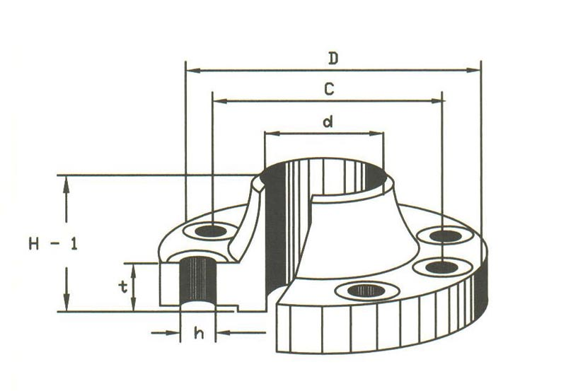 Weld Neck Flange Drawing